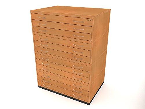 Traditionelles A112Schubladen Plan Buche Papier Aufbewahrung Schrank mit zwölf Schubladen für Papier der A1 (Buche Brust Schubladen)