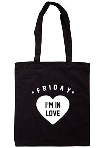 Breadandbutterthreads Friday I' m in love Tote 37.5cm x 42cm con manici lunghi Black