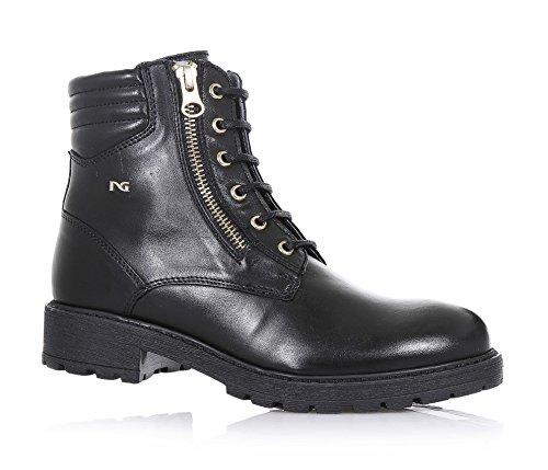 NERO GIARDINI - Botte à lacets noire, en cuir, avec double fermeture éclair latérale, logo en métal latéral, coutures visibles, fille, filles, femme, femmes