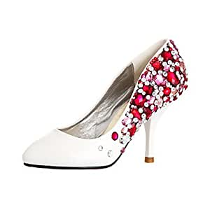 BeMIX Ultra Luxurious Leatherette Upper Stiletto HeelClosed Toe With Colorful Rhinestone Wedding Shoes , White , 35