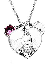 847e93f2ee0e Souljewelry Collar Personalizado Grabado con Foto en Sombra Colgante  Redondo Plata Ley 925 Collar de Plata