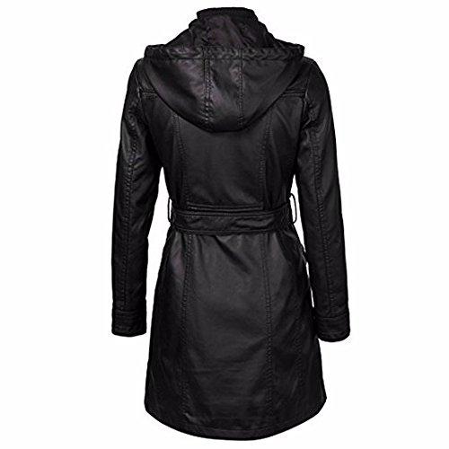Hikenn Frauen Jacke Mantel Winter Herbst Reißverschlüsse Schwarz Lang kappe weiblichen jacke mantel gürtel Schwarz