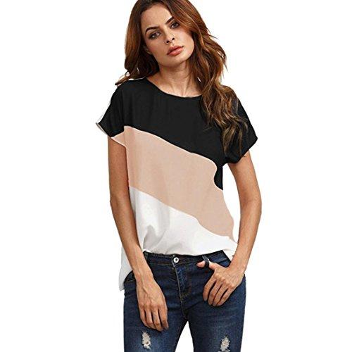 LHWY Bluse Damen Elegant, Frauen Farbe Block Chiffon Kurzarm Sommer Casual Tops T-Shirts Tunika Shirt Zurück Tasten Dekor getäfelten Kleidung für Jugendliche Mädchen (XL, Rosa) (Block Farbe Bluse Chiffon)