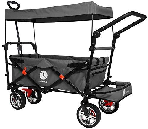 Miweba Faltbarer Bollerwagen MB-20 für Kinder - Bremse - Dach - Breitreifen - Transporttasche - Klappbar - UV-Beständig - Handwagen faltbar (MB-20 Grau)