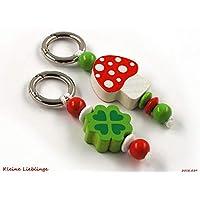 418c33eee1eb82 Schlüsselanhänger Glücksbringer im Doppelpack - 2 Stück - Kinder -  Erwachsene - Taschenbaumler - Glückspilz -