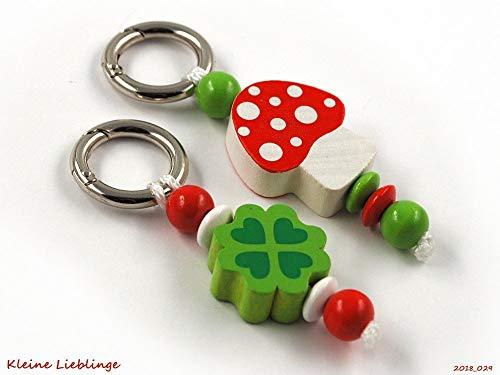 Schlüsselanhänger Glücksbringer im Doppelpack - 2 Stück - Kinder - Erwachsene - Taschenbaumler - Glückspilz - Kleeblatt - Schlüsselring - GRATIS Versand