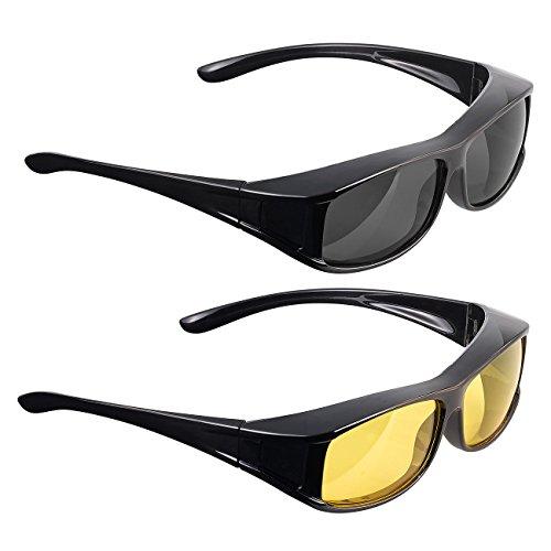 """PEARL Überziehsonnenbrille: Überziehbrillen\""""Day Vision Pro\"""" und\""""Night Vision Pro\"""", 2er-Set (Sonnenbrillen)"""
