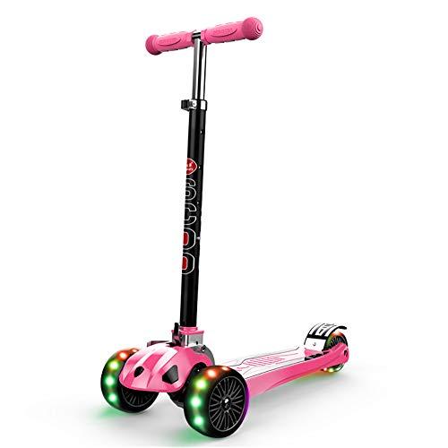 Safety-roller (Kickscooter Faltbarer Roller für 3 bis 18-jährige Jugendliche, höhenverstellbarer Bar-Kick-Roller, Safety Swing 3-Rad-Blink-Roller (Farbe : Pink))