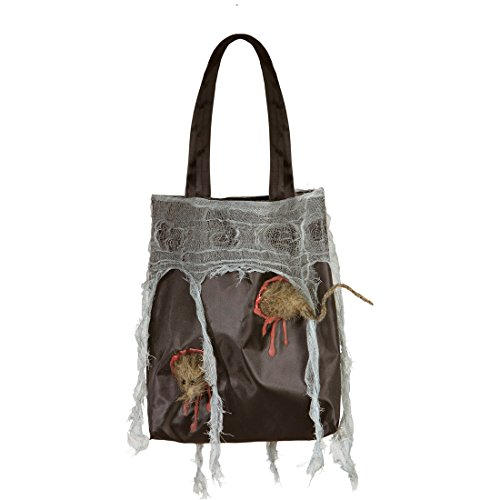 NET TOYS Hexen Tasche mit Ratte Halloween Handtasche Henkeltasche mit Ungeziefer Nager Beuteltasche Halloween