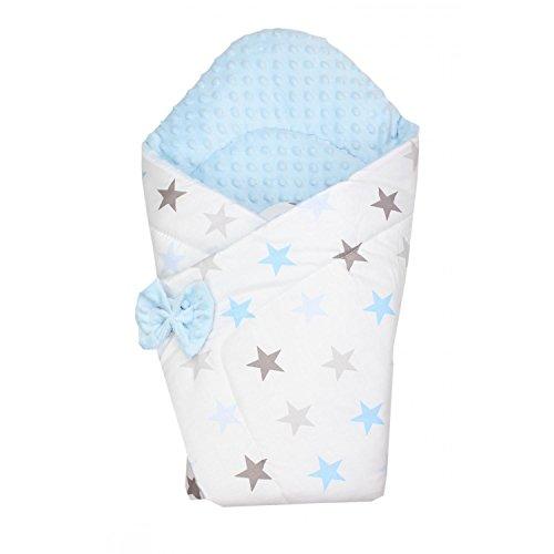 TupTam Baby Winter Einschlagdecke Warm Wattiert Minky, Farbe: Sterne Blau, Größe: ca. 75 x 75 cm