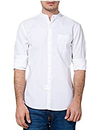 Urbano Fashion White Solid Casual Shirt for Men