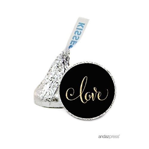 Andaz Press Chocolate Drop Labels Stickers, Wedding, Love Black and Faux Gold Glitter, 216-Pack, For Hershey's Kisses Party Favors, Gifts, Decorations by Andaz Press (Gold Hershey Kisses)