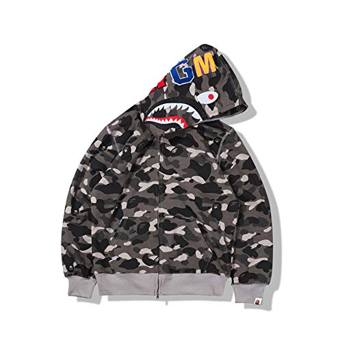 YGBH 3D gedruckte Mens Camouflage AAPE Shark Hoodie Winter Baumwolle Polyester Sweatshirt Frauen und Männer Mantel Full Zip Sweater Hoodies Ärmel,S -