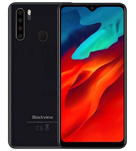 blackview a80 pro 4g cellulare smartphone offerte, 6,49'' hd +, helio p25 4gb + 64gb, quattro fotocamera posteriori, batteria 4680mah, spessore 8,8 mm, telefono android 9.0 dual sim, gps nero