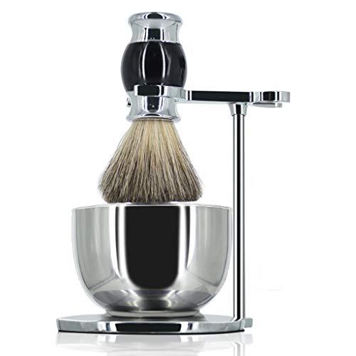 GRUTTI Premium Rasierpinsel Set , Luxus Rasiermesser und Pinselständer Seifenschale und Dachshaar Rasierpinsel Geschenk Rasiersets für Männer-Schwarz-MEHRWEG