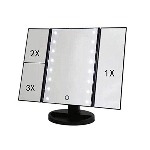 Panel Beleuchtete Make-up-spiegel (DafeiqiRuisen DREI Panel 22LED 180Grad freie Rotation mit 1x/2x/3x zinntheken Kosmetik Make-up Spiegel/Pocket Spiegel/beleuchteter Travel Spiegel schwarz)