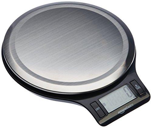 AmazonBasics Digitale Küchenwaage mit LCD-Anzeige (mit Batterien), Edelstahl, BPA-frei -