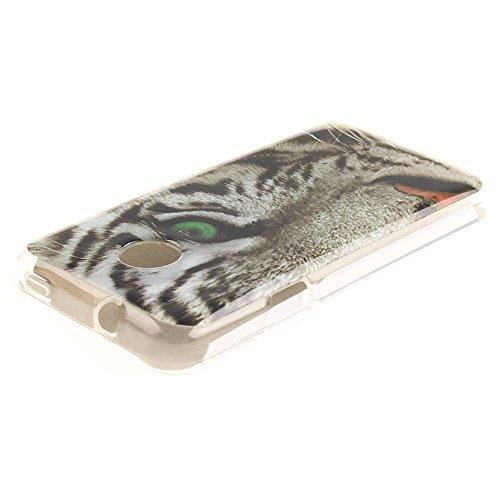 Huawei Ascend Y330 Hülle,MCHSHOP Ultra Slim Skin Gel Schlank TPU Case Schutzhülle Silikon Silicone Schutzhülle Case Back Cover für Huawei Ascend Y330 - 1 Kostenlose Stylus Pen (Löwenzahn sich verliebe weiße tiger mit grünen augen