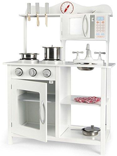 Cucina Leomark White Classic Classica Bianca Cucina Giocattolo Per Bambini Gioco In Legno Giocare Dimitazione Accessor Set Vasi Di Metallo Lagostina