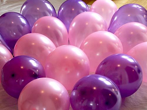 (AMACHILD 25x Luftballons in Metallic Lila und Pink für Kindergeburtstage - Leicht aufblasbar und für Kinder geeignet –)