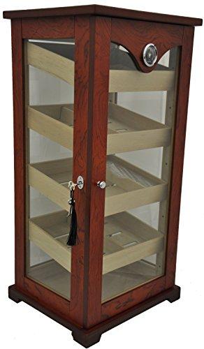 HUMIDORO Humidor - Schrank für 100 Zigarren - Zedernholztablett - 4 Ebenen - GLASTÜR UND Seiten AUS Glas - 4 Seiten Glas