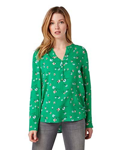 Grün Floral Bluse (TOM TAILOR für Frauen Blusen, Shirts & Hemden Bluse mit floralem Muster Green floral Design, 36)
