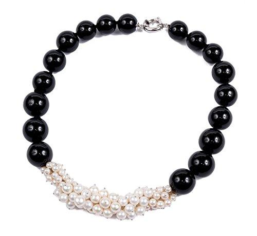 Bella by Miyu - Collana di pietre dure in argento, perle e agata nera