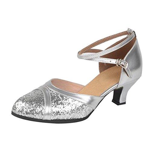 Frauen Erwachsene Mitte Mit Weichem Boden Glitzer Pailletten Latin Schuhe Silver
