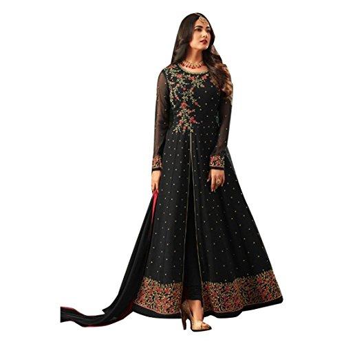 ETHNIC EMPORIUM Damen Schwarz Bollywood Designer Braut Anarkali Shalwar Kameez Muslim Hochzeit Eid Festliche Rakhi Sammlung Klage-Kleid 2844 43481 Wie gezeigt -