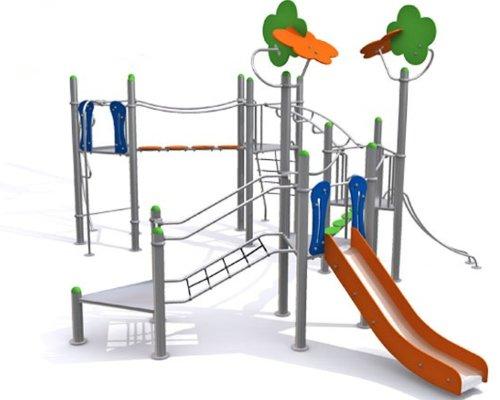 Loggyland Spielanlage METALLIC V mit Brücke, Leitern, Rutsche und Klettermöglichkeiten - für öffentliche Spielplätze & Einrichtungen