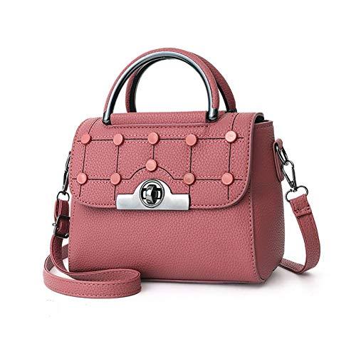 MMKONG Hohe Qualität Umhängetasche Für Frauen Pu-Leder Handtaschen Qualität Weibliche Umhängetaschen Berühmte Frauen Designer Flap Taschen-Rubber pink Vintage Hard Rubber