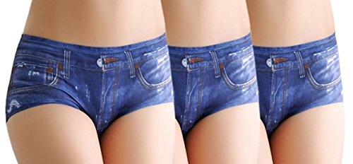 3x Sexy Panty-Set Neu 'Jeanslook' - Damen Slip in Jeansoptik | Größe 34-36, Farbe:Blau