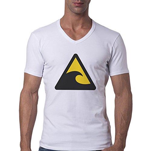 Danger Sign Warning Caution Waves Herren V-Neck T-Shirt Weiß