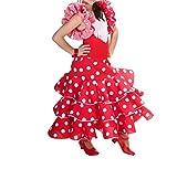 Anuka Vestido de niña para Danza Flamenco o sevillanas (Rojo, 6/7 años)