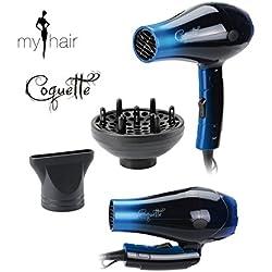 My Hair Sèche-cheveux professionnel de voyage pliable léger avec diffuseur Coquette Bleu 1000 W