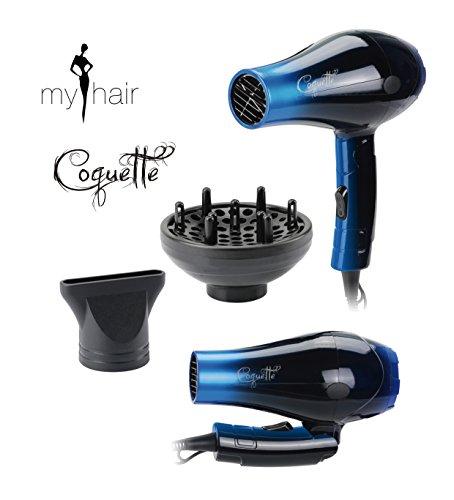Secador de Pelo Profesional de Viaje Plegable Ligero con Difusor Coquette Blue (Azul) 1000W - My Hair