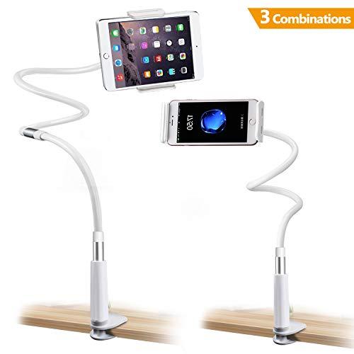 Gifort Schwanenhals Handy Halterungen Ständer 360 ° Drehen Einstellbare faltbar Halter für 4-10.6 Zoll Großbild Handy/Mini Android/IOS Device (3 Combinations)