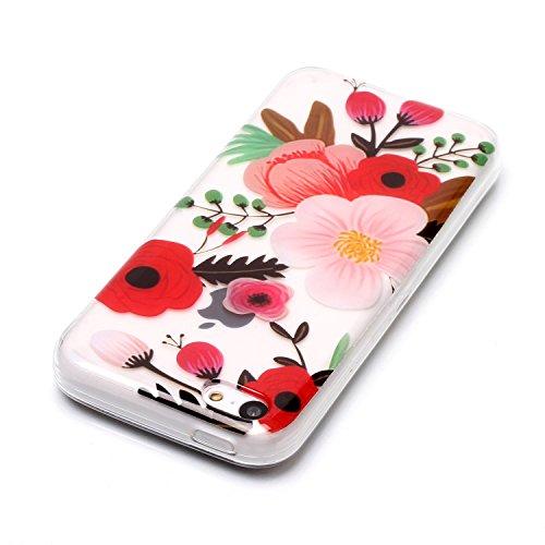 iPhone 5C Hülle,SainCat Kreativer Cartoon Federn Blumen Muster TPU Schutz Handy Hülle Handyhülle Transparent Ultra dünne Silikon Schutzhülle Durchsichtig Hadytasche Stoßdämpfend TPU Gel Case Bumper We Rosa rote Blume