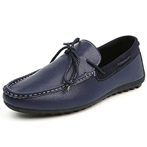 Men's Korean Style PU Leather Slip On Casual Shoes blue