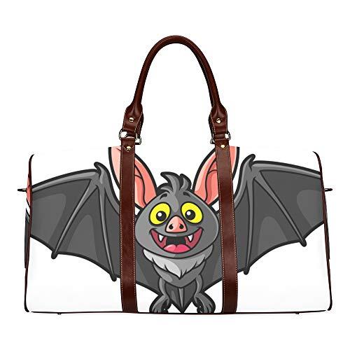 Reisetasche Night Terror Bat Animal Carton wasserdichte Weekender-Tasche Reisetasche Damen-Einkaufstasche Mit Mikrofaser-Leder-Gepäcktasche