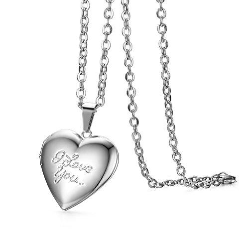 JewelryWe Schmuck Edelstahl Foto Medaillon zum Öffnen Photo Bilder Amulett Silber Love You Herzanhänger Halskette Kette mit Anhänger für Damen Mädchen - Kostenlose Gravur