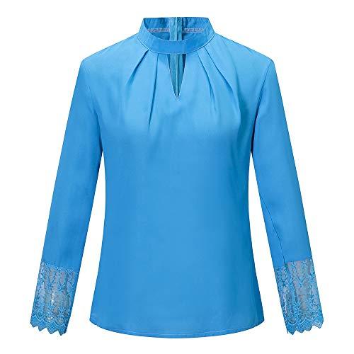 LuckyGirls Tee Shirts Femme Chic Mousseline Fleur Dentelle Patchwork Haut Épaules Nues Tops Décontractée Loose Blouse T-Shirts - Maxi - 5XL (Large, Bleu B)