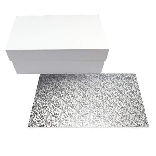 Miss Bakery's House® Cake Box mit MDF Board - 40x30x15 cm - Weiß