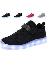 FLARUT Herren LED Schuhe 8 Farbe USB Aufladen Low Top Leuchtend Sportschuhe Sneaker Turnschuhe für Unisex-Erwachsene Damen(Schwarz,43)