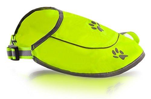 Hunde Sicherheitweste High Viz Reflektorweste Fell Sicherheit - Wasserdichte Gelb Weste für beste Sicht bei Tag und Nacht mit Klatschen, Steckverbinder Komfortable einstellbare Größe, XL