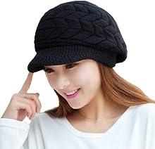 Women Winter Warm Knit Hat Wool Snow Ski Caps With Visor(Black) b41f3b9593e