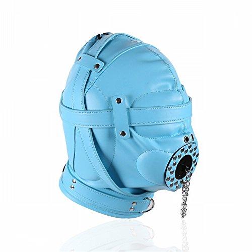 Nachtclub Bühnenleistung Requisiten Erwachsenen Liefert Ultimative Leder Kopfbedeckung, mit Deckel All-Inclusive-Sperre Maske, Paar Spielzeug, Um Den Verstellbaren Kopf zu Stimulieren,Blau -