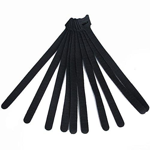 cravatte cavo - TOOGOO(R) 10pz regolabile gancio velcro e cravatte cavo del cavo di Loop - Nero - ideale per computer Tecnici, elettricisti, Ragazzi cavo, proprietari di PC, etc.