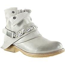 Angkorly - Zapatillas Moda Botines cavalier bimaterial mujer zapato acolchado nodo camuflaje Talón Tacón ancho 3 CM