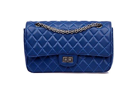 PACK Europa Die Vereinigten Staaten Leder Handtaschen Mode Lingge Kette Schulter Portable Satchel Damen Taschen,C:Pink A:Blue